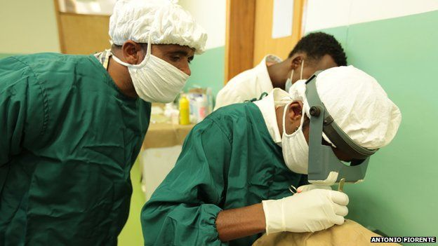 masked surgical staff operating on a patient's eye