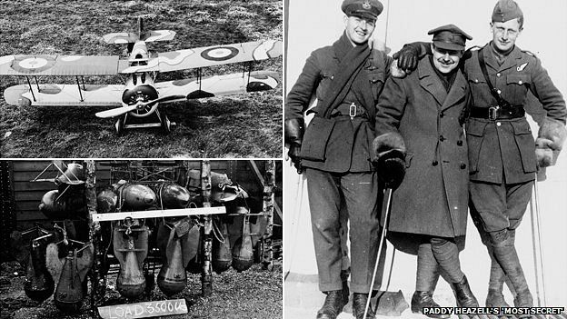 Camouflaged plane, pilots and bomb rack at Orford Ness