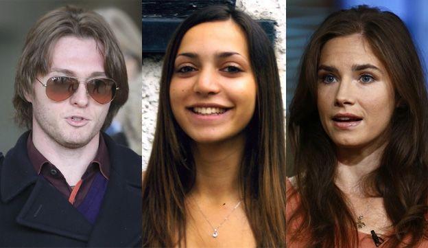 L-R: Raffaele Sollecito, Meredith Kercher, Amanda Knox (composite)