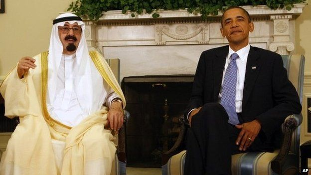 President Barack Obama meets with Saudi Arabia's King Abdullah in the Oval Office of the White House in Washington 29 June 2010