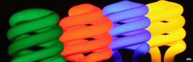 Coloured bulbs in a row