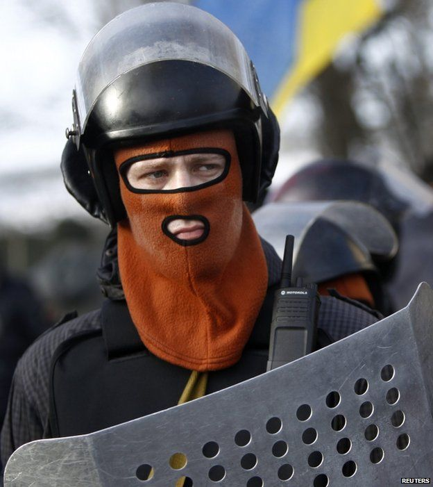 A protester in Kiev, 6 February