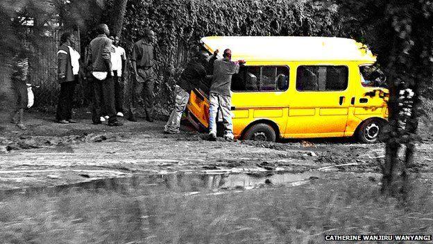 A bus stuck in a pothole, Catherine Wanjiru Wanyangi