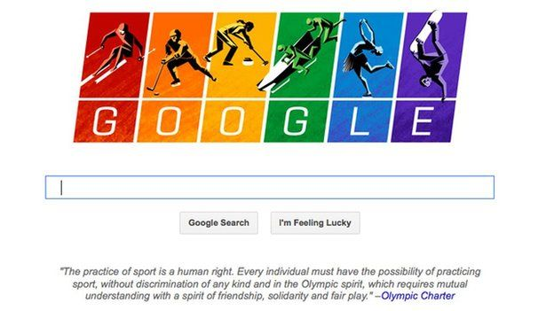 A screen shot of the home page Google.com, depicting illustrations of athletes skiing, sledding, curling and skating against a rainbow-coloured backdrop -- a symbol of the gay rights movement