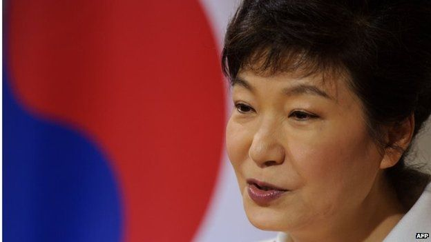 The president of the Republic of Korea, Park Geun-hye delivers a speech during her state visit to Switzerland in January
