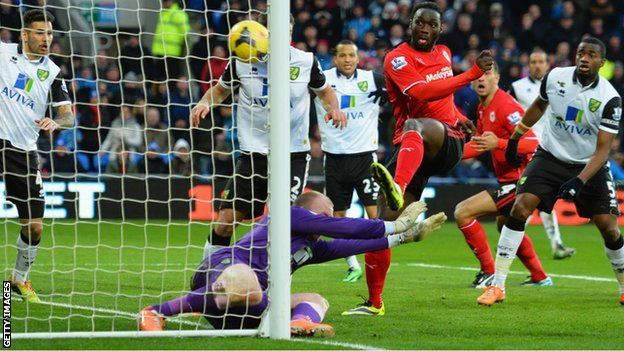 Kenwyne Jones scoring for Cardiff City on his debut against Norwich