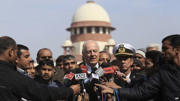 Italian envoy Staffan de Mistura after court hearing at Supreme Court, in New Delhi (10 Feb 2014)