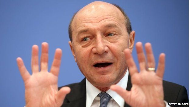 Romanian President Traian Basescu speaks to the media at a press conference on 31 January in Berlin