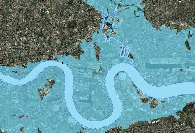 Map of London showing how it might be affected by flood without the Thames barrier