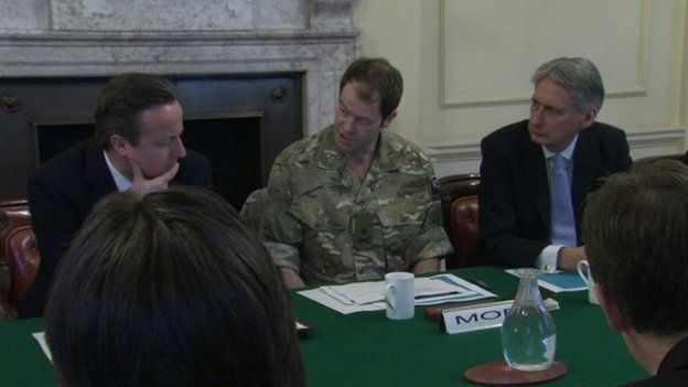 David Cameron, Maj Gen Patrick Sanders, and Defence Secretary Philip Hammond
