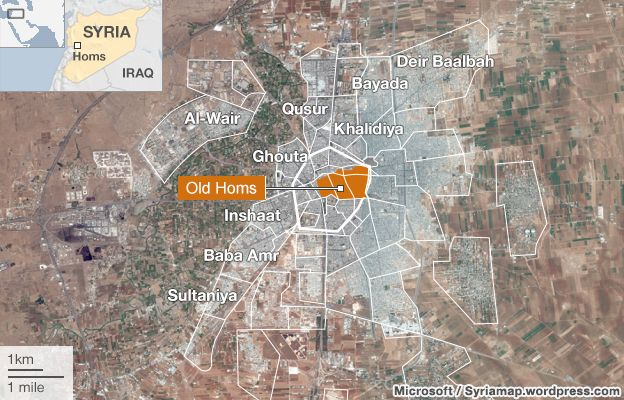 Map of Homs, showing Old Homs