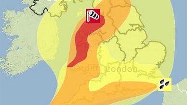 Red warning map
