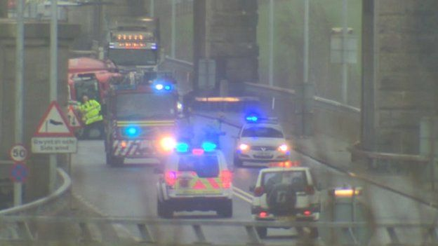 The Britannia Bridge was closed after a lorry overturned