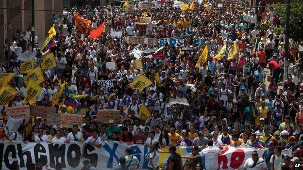 Opposition protest in Caracas, Venezuela (12 Feb 2014)