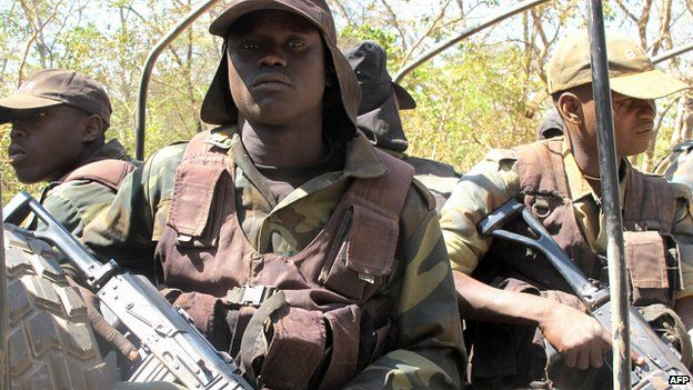Cameroonian soldiers patrol on December 15, 2012 during a field trip organized for the press at Bouba N'Djidda National Park in northern Cameroon