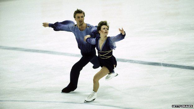 Jayne Torvill and Christopher Dean of Great Britain on their way to winning gold medals in the Ice Dancing event during the Sarajevo Winter Olympic Games in Yugoslavia in 1984