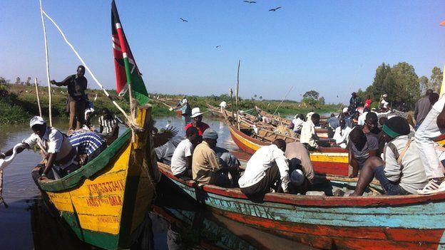 Fishing boats on Lake Victoria, Kenya