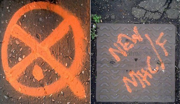 Symbol left on a road in Chelmsford