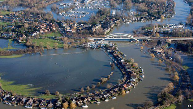 Flood water at Walton-on-Thames