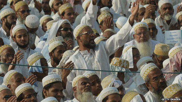 Muslim faithful at a public meeting