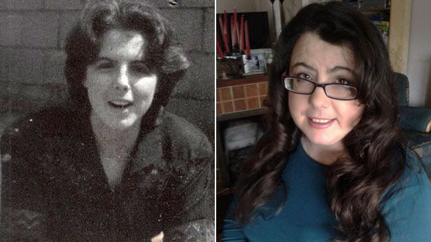 A composite image showing Janet Ni Shuilleabhain now (right) and 20 years ago (left)