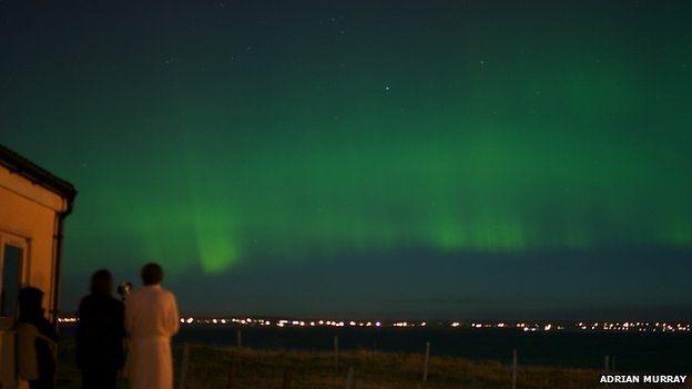Northern lights over Stornoway in October