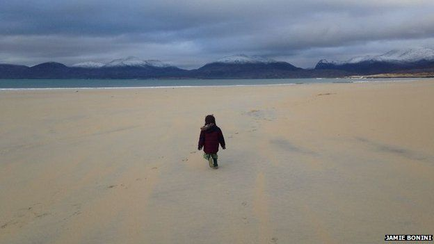 Rory having a stroll on a windy Luskentyre Beach on Harris