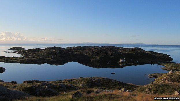 Early morning reflection, Ard Manais, Bays of Harris - overlooking Lower Manish with the Minch and the Isle of Skye beyond