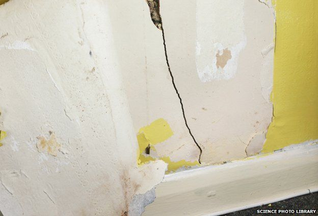Crack in internal wall caused by subsidence