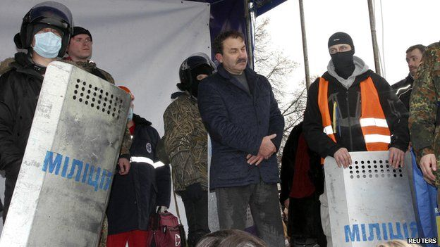The Governor of the Volyn region, Alexander Bashkalenko, after being captured by protesters.