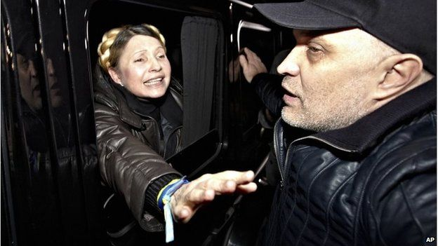The former Ukrainian Prime Minister is greeted by supporters shortly after being freed