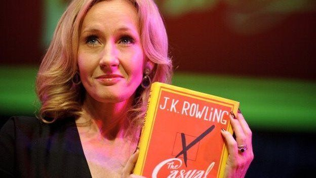 Author JK Rowling poses with her latest book, The Casual Vacancy, on 27 September, 2012.