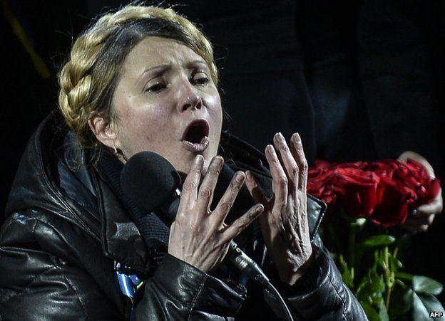 Yulia Tymoshenko, speaking to protesters in Kiev, 22 February