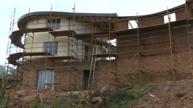 image caption the house has taken three years to build and will take another year before it will be habitable