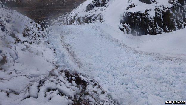 Avalanche debris in Glencoe