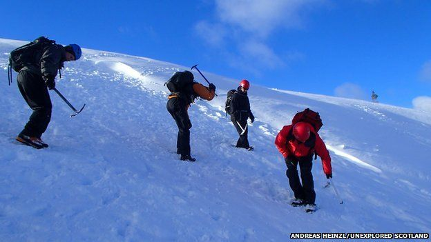 Walkers on a winter skills course in Coire na Ciste in the Cairngorms