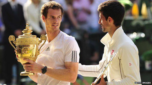 Andy Murray celebrates his win over Novak Djokovic in 2013