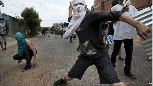 Masked demonstrator in Venezuela