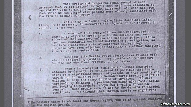 Extract of file from National Archives about Marita Perigoe