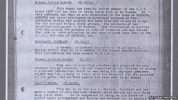 Extract of file from National Archives about members of Nazi-sympathising group
