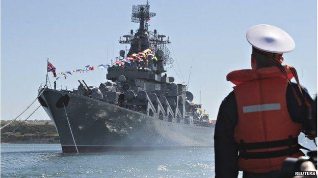 Russian missile cruiser Moskva moored in the Ukrainian Black Sea port of Sevastopol