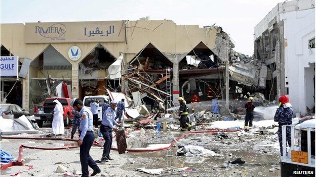 The restaurant partially destroyed in the explosion