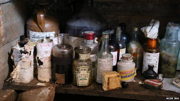 Bottles of sauces in Mawson's base camp