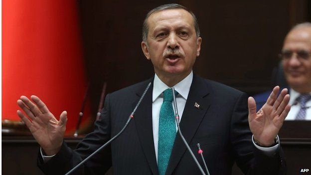 A file photo taken on 14 January showing Turkey's Prime Minister Recep Tayyip Erdogan delivering a speech to the members of the Turkish Parliament in Ankara