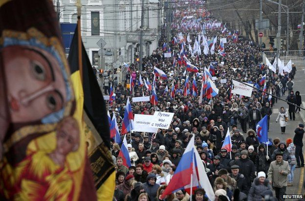 A pro-Crimea march through Moscow, 2 March