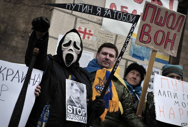 Anti-Putin protesters in Kiev, 2 March
