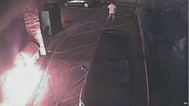 CCTV of a petrol bomb exploding outside the Grimsby Islamic Cultural Centre