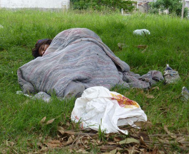 Rough sleeper in Malvin Norte