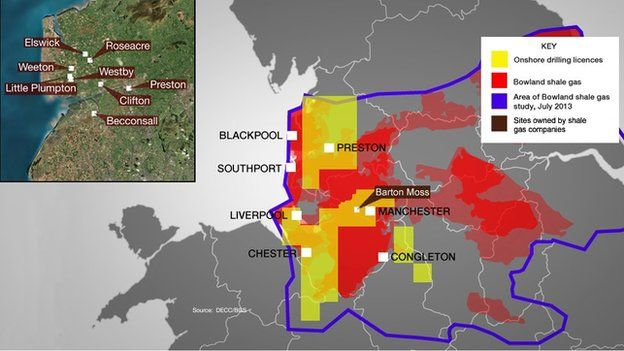 Map of drilling licences, shale gas and locations
