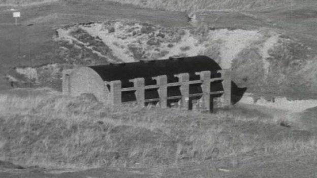 St Piran's Oratory concrete shell. Pic: BBC Spotlight in the 1970s